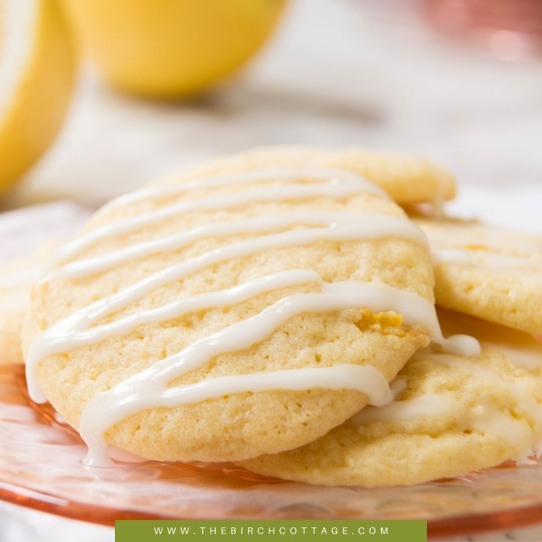 plate of lemon zucchini cookies with glaze