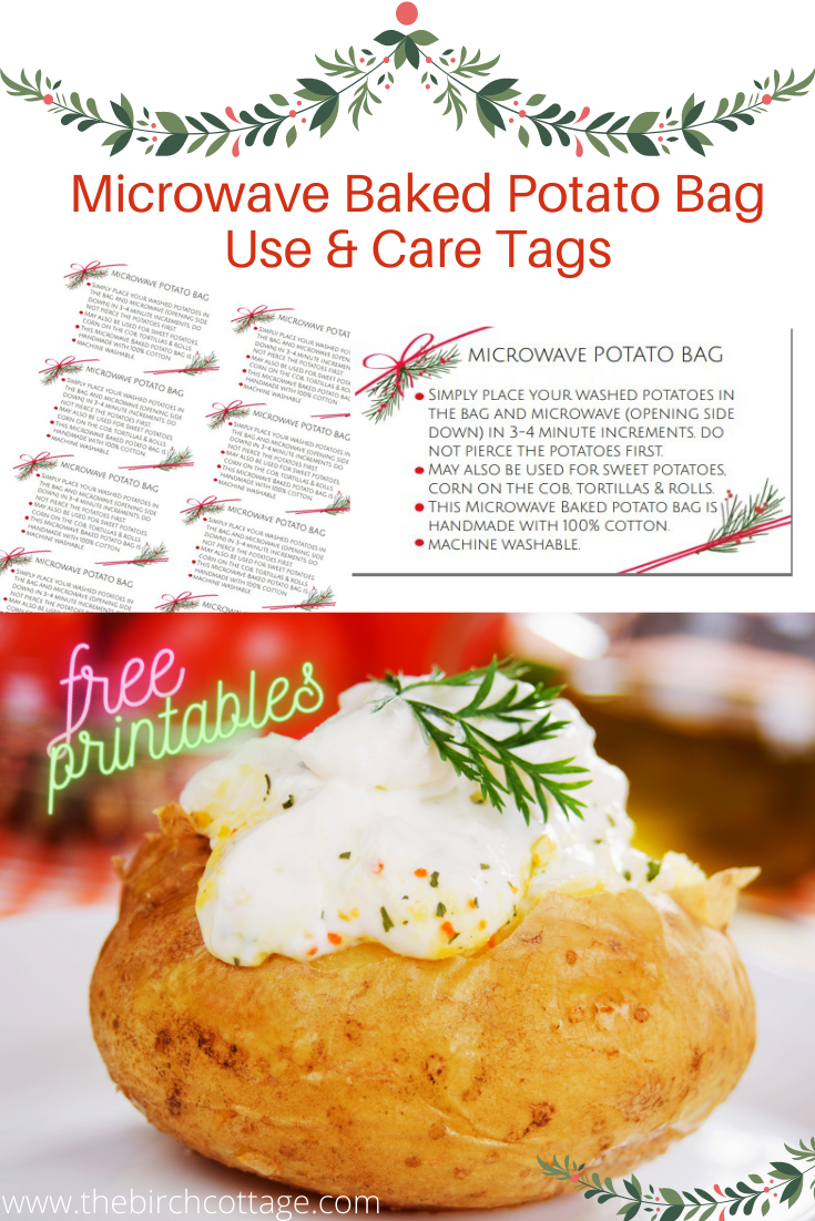 Microwave Baked Potato Bag Care And Use Tags The Birch Cottage