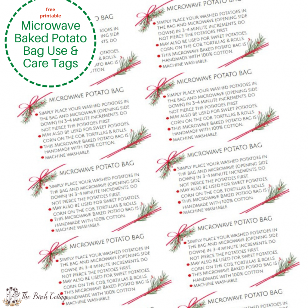 Download this set of printable microwave safe baked potato bag care and use tags and include with your handmade baked potato bags.