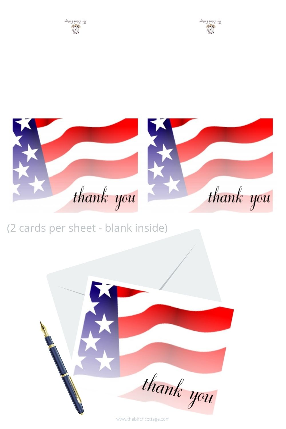 patriotic thank you note cards with American flag