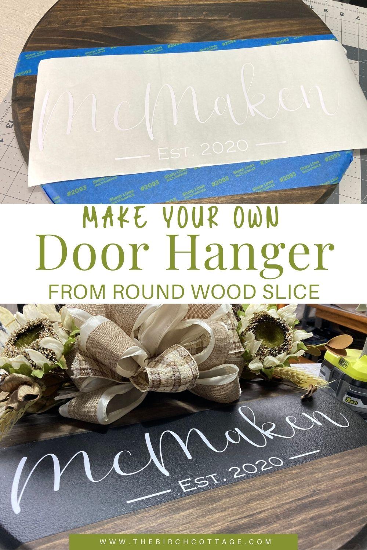 wooden door hanger with artificial flowers