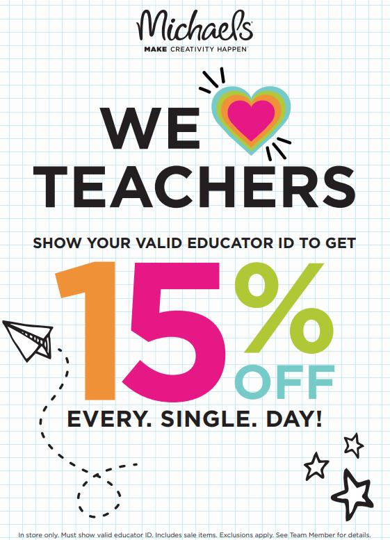Michaels Stores Teacher Discount