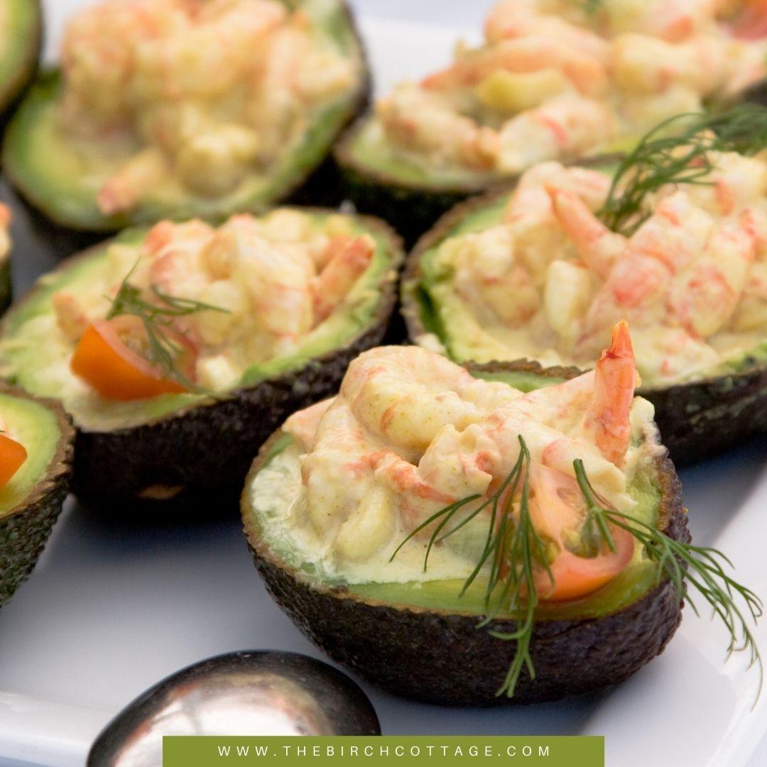 Healthy and tasty Shrimp Stuffed Avocado recipe! Fresh avocado stuffed with shrimp, cilantro aioli and lime juice. Using fresh ingredients for the