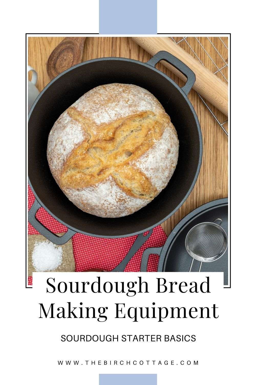 cast iron skillet with sourdough bread