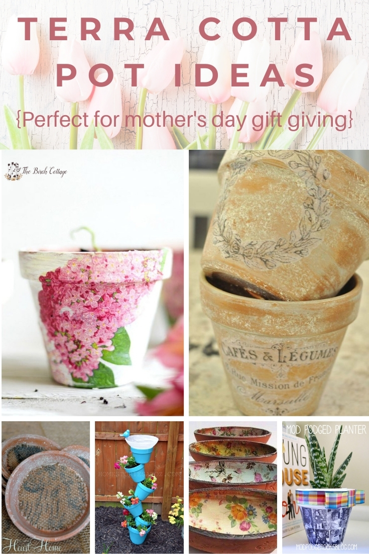 6 DIY Terra Cotta Pot Ideas for Mother's Day gift giving. Learn how easy it is to turn an ordinary terra cotta pot into something special for Mother's Day!