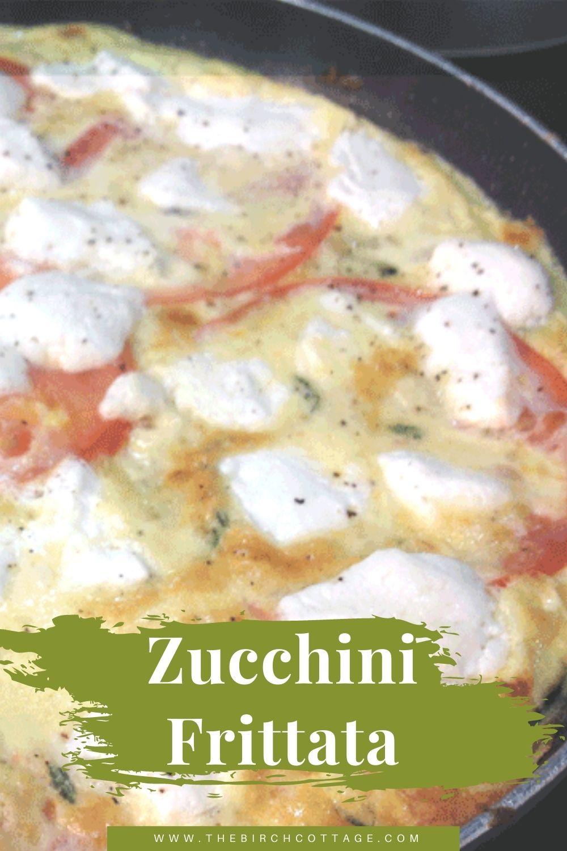 zucchini frittata in a cast iron skillet
